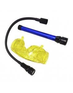 UV-ЛАМПА RK1267 питание 3 батарейки АА, очки,насадка с белым светом 5 LED RK1267